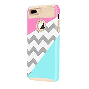 iPhone 7 Plus Case,LUOLNH [2in1] Heavy Duty Hybrid Hard Case for Apple iPhone 7 Plus[5.5inch], Blue Mint Teal and Coral Pink Split Chevron Design Cover (Gold)