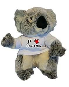 Peluche koala personnalisé avec un T-shirt J'aime Benjamin
