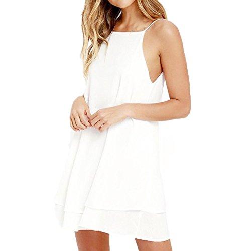 SOMESUN Damen Cocktail Kleid mit Chiffon Elegant Chiffonkleid Ärmellos Sommerkleid Partykleid Hochzeit Tops (M, Weiß)