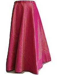 SNEH Women's Brocade Silk Skirt (Pink, Free Size)