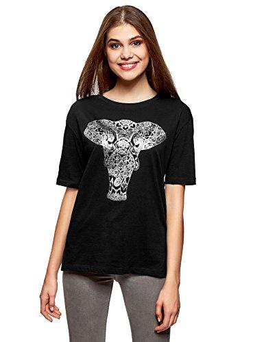 oodji Ultra Donna T-Shirt Larga Stampata Senza Etichetta Nero (2991P)