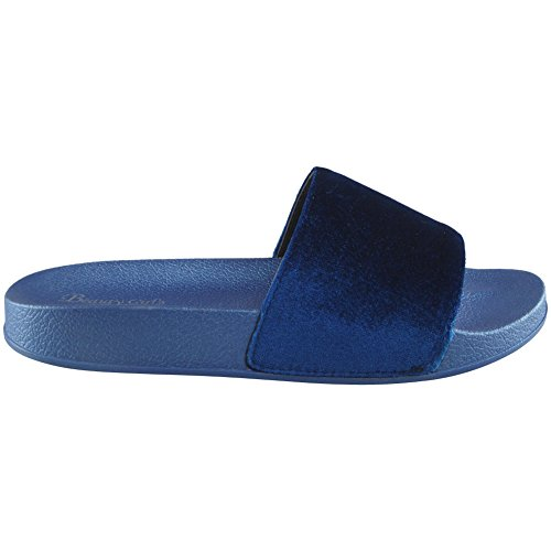 Nuovo Donna Velluto Piatto Scarpe in gomma Formato 3-8 Blu