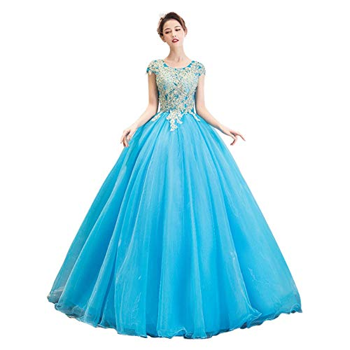 Mädchen Belle Of The Ball Kostüm - QAQBDBCKL Blaue Stickerei Perlen mittelalterlichen Kleid