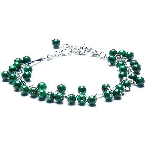 Ufingo Jewelry - Malachite Bracciali Cavigliere, 4mm diametro, Catena Lunghezza 28 centimetri, può essere regolato, Silver Plated