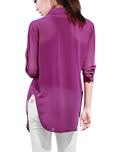 Allegra K Allegra K Femmes Dolman Manche Shirt tunique mousseline Side-Slit Violet