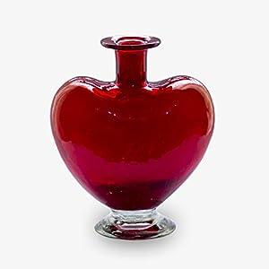 Glasmanufaktur Mitienda, Vase rot, Blumenvase Herz, Dekoflasche, mundgeblasene Vase aus Mexiko, Glas-Recycling