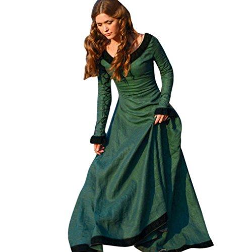 Vestito medievale donna Vovotrade Costume Cosplay Principessa Vestito gotico rinascimentale (L, verde)