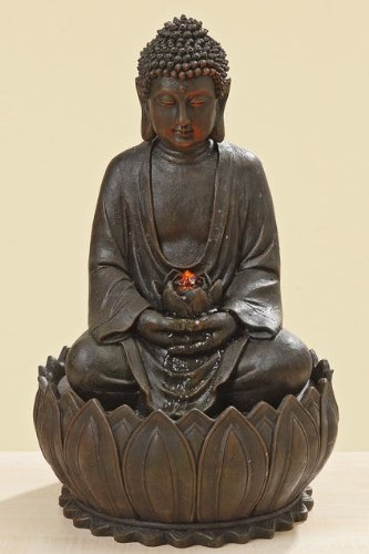 floristikvergleich.de Brunnen Buddha – Buddhabrunnen H 52 cm mit ein LED-Licht und Pumpe, Wohnskulptur