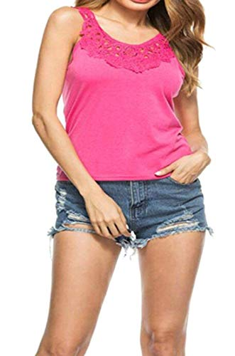 Vests Home Frauen Rundhalsausschnitt Solide Lace Splice Tank Camis T-Shirt Blusen (Color : Rose Red, Size : US X-Small) -