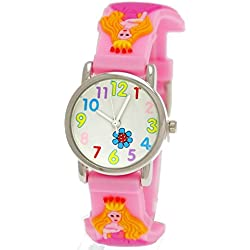 Cute Pure Time Children's Watch-Princess Silicone Watch With Pink Case/Cover + Watch Box