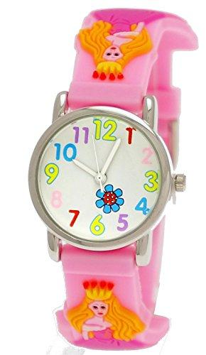 Süße Pure Time Kinderuhr Kinder Mädchen Silikon Mädchenuhr Armband Uhr mit 3d Prinzessinen Motiv Rosa inkl. Uhrenbox