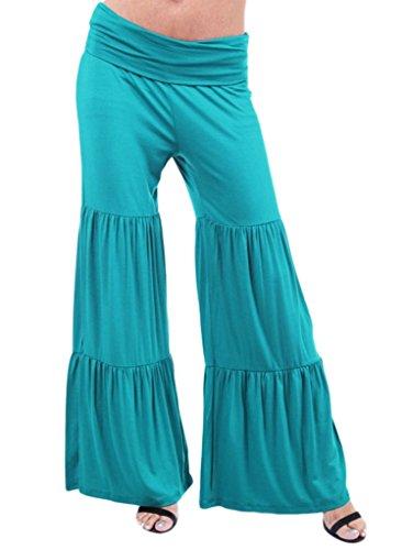 Smile YKK Pantalon Evasé Femme Grande Taille Jambe Large Sport Yoga Jogging Plage Casual Eté Lac Bleu