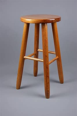 (KBR-Large) LAQUERED BROWN WOODEN STOOL CHAIR BAR KITCHEN BREAKFAST produced by Decocraft - quick delivery from UK.