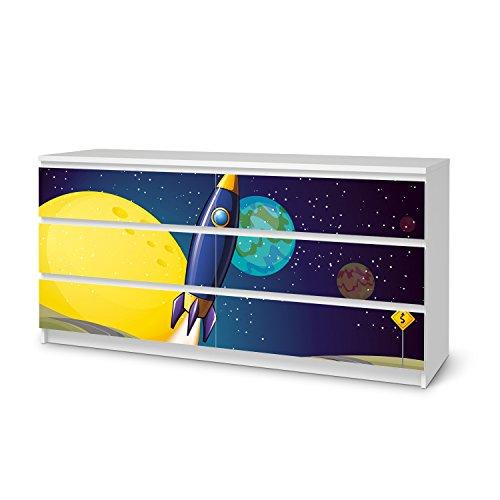 creatisto Möbel-Sticker Folie für IKEA Malm 6 Schubladen (breit) I Folie Design Möbelfolie selbstklebend I Einrichtung stylen Wohndeko I Design Motiv Space Rocket -