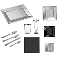 Set de fiesta vajilla desechable Plata y Negro - 12 comensales - Colección especial