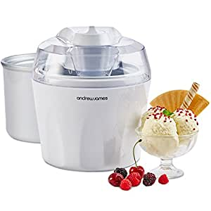 """Andrew James Ice Cream Maker & Spare Bowl - Voted """"Best Buy"""" By Which? Magazine. 1.5 Litre - White"""