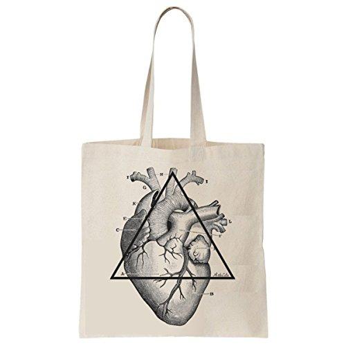 Tote Bag Imprimé Ecru - Toile en coton bio - Mon cœur