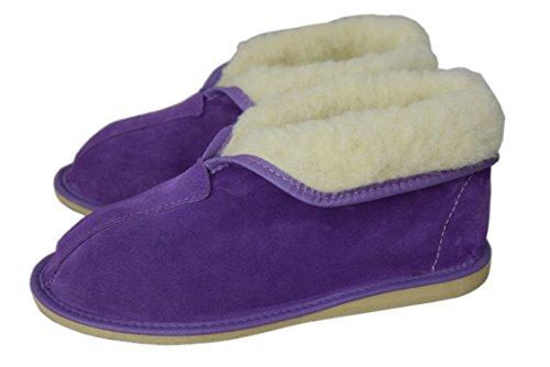 Unisexe en cuir naturel et laine de mouton Doublure Chaussons Bottes Taille 3–12 Violet / suede