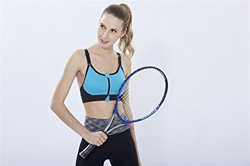 YeeHoo Stretch Workout Front Zipper Bra Sports Bra Yoga Running Wear Bleu