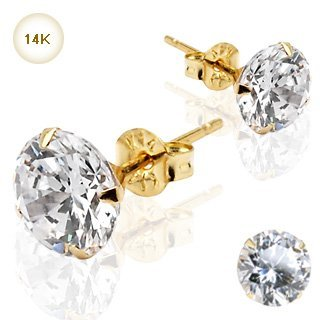 Boxed 14kt Solid Gold 2mm Swarovski crystal Stud Earrings For pierced ears with butterfly backs