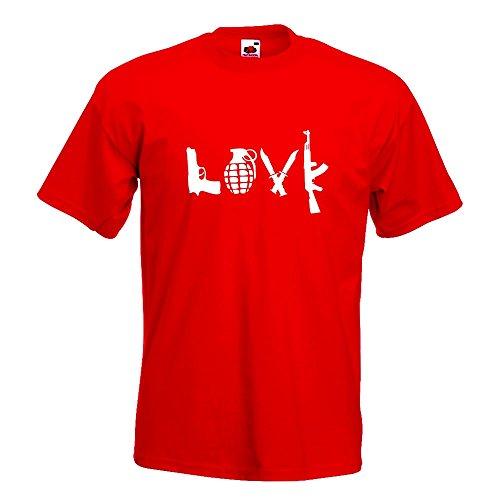 KIWISTAR - LOVE Waffen Guns T-Shirt in 15 verschiedenen Farben - Herren Funshirt bedruckt Design Sprüche Spruch Motive Oberteil Baumwolle Print Größe S M L XL XXL Rot