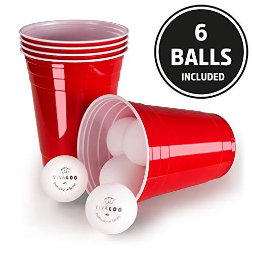 cher Bierpongset, 6 Bälle - Trinkbecher Red Cups, Rote Beer Pong Becher 473ml 16oz ()