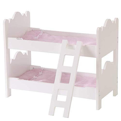 HILIROOM Puppe Etagenbett Holz Bettwäsche 18 Zoll für Babypuppen Puppenhaus Möbel Betten Set -
