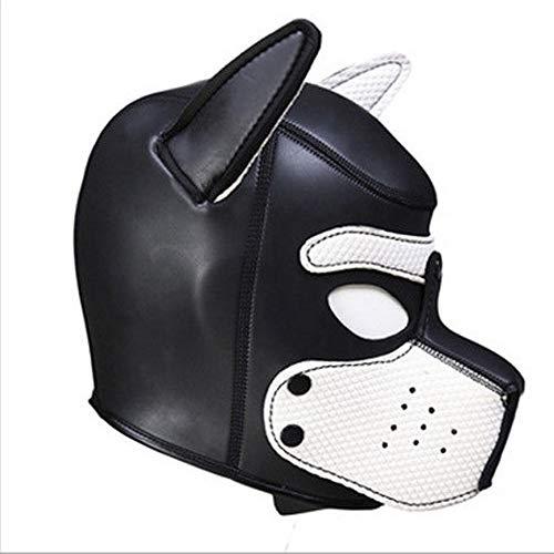 Lovearn Gepolsterte Welpenhaube aus Latex benutzerdefinierte Tier Kopf Maske Neuheit Kostüm Hund Kopf Masken Cosplay voller Kopf mit Ohren 10 Farbe (Weiß)