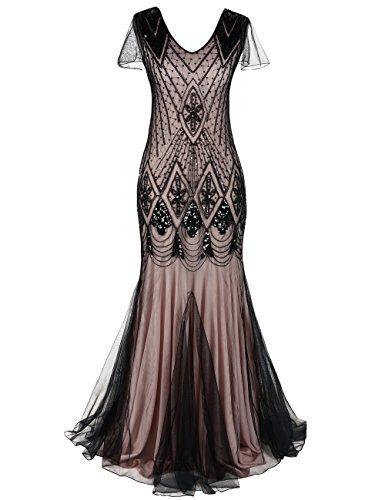 PrettyGuide Damen Abendkleid 1920er Flapper Paillette Maxi Langes Meerjungfrau Ballkleid S Schwarz...