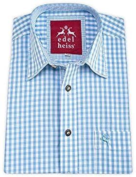 Edelheiss Herren Trachtenhemd Langarm Hellblau Karo 112173, Größe 40