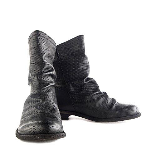 Felmini - Chaussures Femme - Tomber en amour avec Bomber 8950 - Bottes Cowboy & Biker - Cuir Véritable - Noir Noir