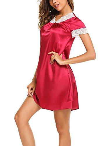ADOME Damen Nachthemd Baumwolle kurzarm lang Schlafkleid pyjama still Schwarz/Grau/Blau 6982_Rot