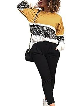 Youngirt Primavera Blusa Mujer Suelto Encaje Costura T Shirt Blouses Tops Pullover Casual Cuello Redondo Camisetas...