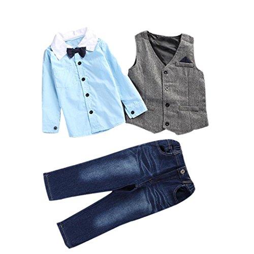 Bekleidung Longra 1SET Kinder Kleinkind jungen Gentry Kleidung Set hübschen T-Shirt + Weste + Hosen Jeans Kleidung Outfits Bogen Party Anzüge & Sakkos (2-7Jahre) (90CM 2Jahre, Blue)