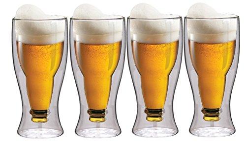 Maxxo Doppelwandige Gläser Bier Set 4X 500 ml Thermogläser mit Schwebe-Effekt Spälmaschinefest Biergläser Trinkgäser