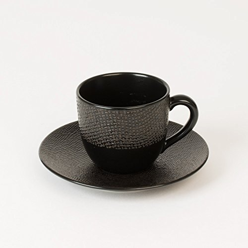 TABLE PASSION - TASSE / SOUS TASSE CAFÉ VESUVIO NOIR (LOT DE 6)