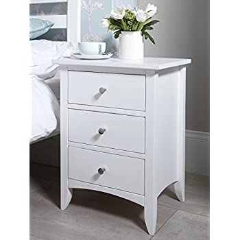 RjKart Furniture Wooden Bed Side Table for Living Room | Bedside Table for Bedroom | 3 Drawer Side Table | White