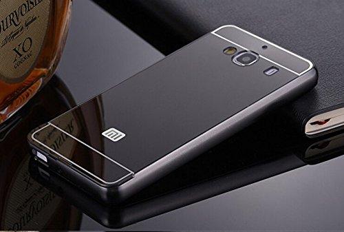 Xiaomi Redmi 2/ 2S/ Prime Case, JMV Luxury Metal Bumper Acrylic Mirror Back Cover Case For Xiaomi Redmi 2/ 2S/ Prime - (Black Mirror)