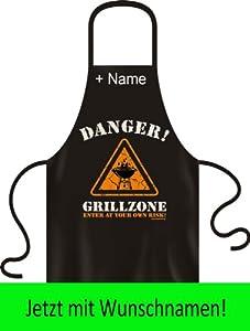 Witzige Koch und Grillschürze: Danger! Grillzone! Mit individuellen Wunschnamen