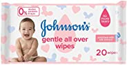 JOHNSON'S Baby Wipes - Gentle All Over, Pack of 20 wipes