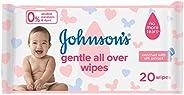 مناديل لتنظيف لطيف لكامل بشرة الاطفال من جونسون- 20 منديل