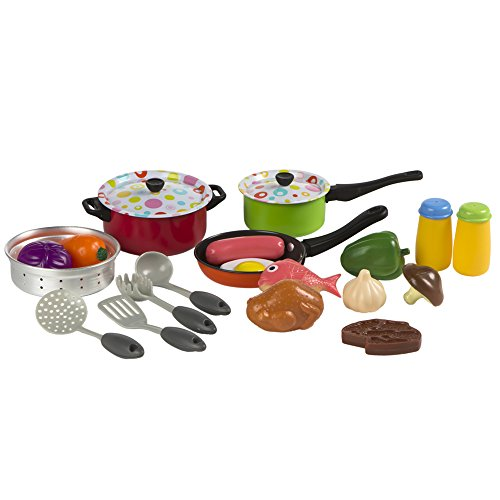Playgo - Set utensilios de metal & comida para cocinar - 22 piezas (ColorBaby 42059)