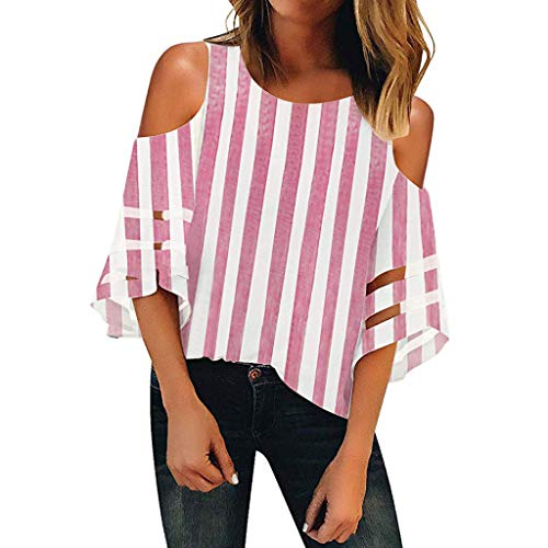 Linkay Bluse Damen Tops Streifen kalte Schulter O Neck T-Shirt Mesh Panel Sommer 3/4 Bell Sleeve Top Shirt Oberteile (Rosa,Medium) -