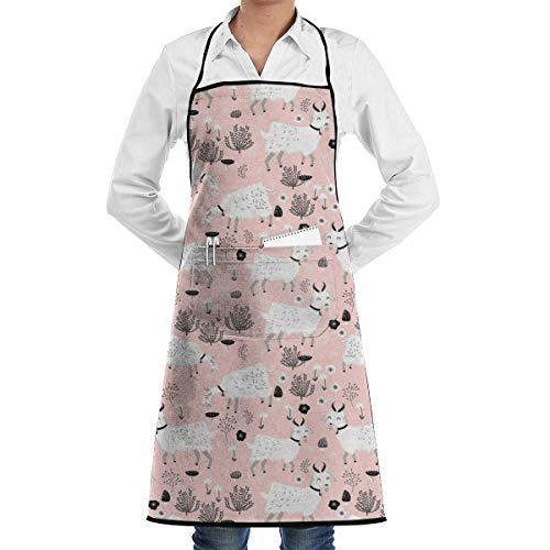 xcvgcxcvasda Einstellbare Latzschürze mit Tasche, Farm Goats Chef Schürze with Bib Schürze Kitchen Schürze Adjustable Extra Long Ties for Women Men BBQ Baking and Cooking-Black
