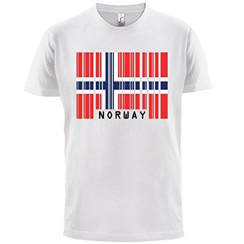 Norway / Norwegen Barcode Flagge - Herren T-Shirt - Weiß - M (Wappen Norwegen)