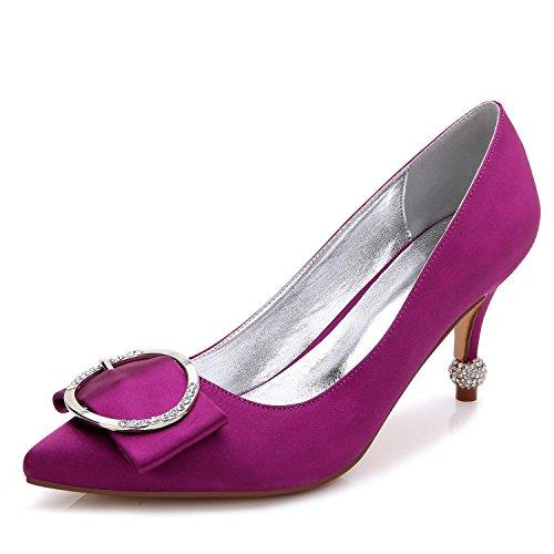 L@YC Scarpe Con I Tacchi alti Da Donna B-17767-41 Chiudi Punta Punta Primavera autunno Seta Su Misura Scarpe Grandi Per Matrimonio Purple