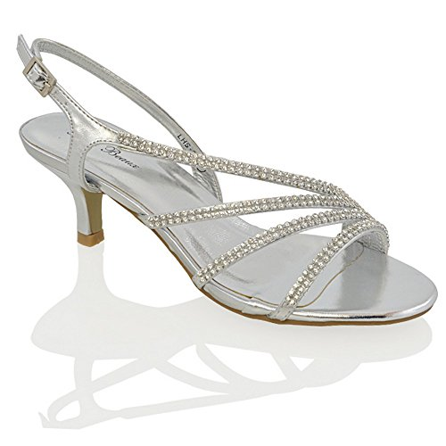 WOMENS DIAMANTE MID HEEL BRIDAL LADIES PROM PARTY EVENING WEDDING SANDALS SIZE