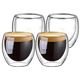 Domowin Bicchieri caffè Vetro, Tazzina Tazzine caffè Espresso Vetro Bicchierini per caffè Espresso in Vetro Borosilicato…