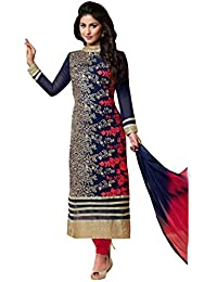Shoppingover Women's Georgette Dress Material (2301BR_Free Size_Blue)