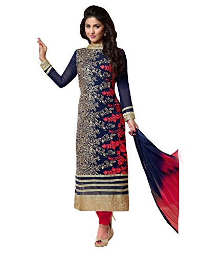 Shoppingover Party Wear Churidar Salwar Kameez Blue